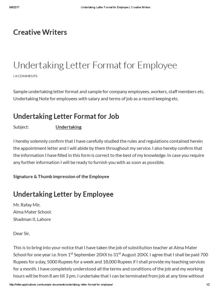 Undertaking letter format for employee creative writers labor undertaking letter format for employee creative writers labor employment altavistaventures Image collections