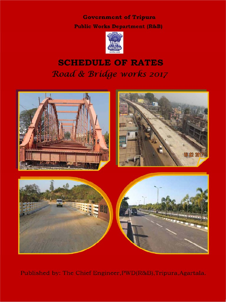 SOR 2017 PWD (Road and Bridge) TRIPURA | Road Surface | Concrete