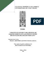Abastecimiento en Las Instituciones Regionales Del Estado Peruano