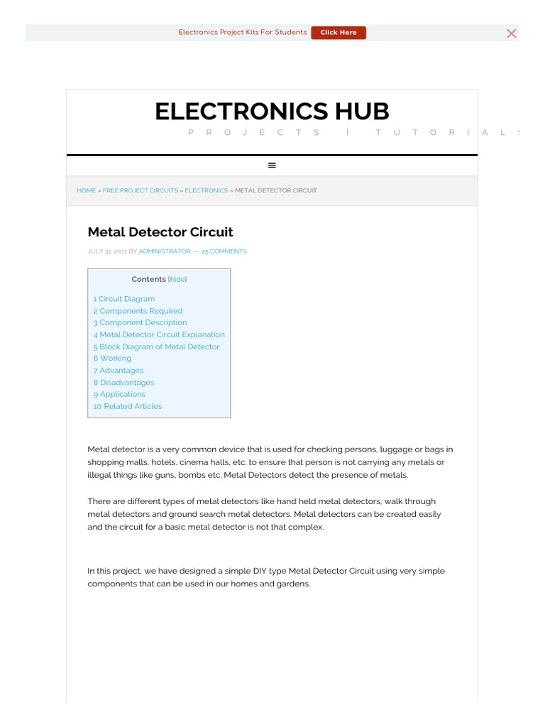 Circuit Diagram Of Metal Detector Project Trusted Wiring Diagrams Radio Inductor Types Circuits