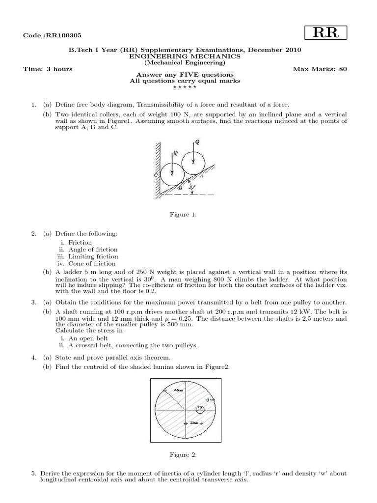 Rr december 2010 engineering mechanics belt mechanical speed pooptronica