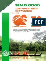 U.P. Mountaineers' Ipo Watershed Accomplishment Report (2007 to 2015)
