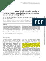 Teachers Perceptions of Health Education Practice in Northern Ireland