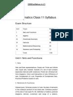 Mathematics Class 11 Syllabus - 2018-19 CBSEsyllabus
