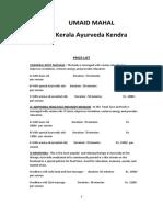Kerala Ayurveda Kendra-menu