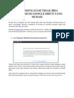 Cara Mengatasi Tidak Bisa Download Di Google Drive Yang Mudah