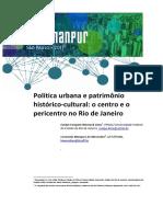 ARTIGO - Política Urbana e Patrimônio Histórico-cultural - o Centro e o Pericentro No Rio de Janeiro