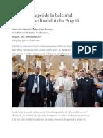 Discursul Papei de La Balconul Palatului Cardinalului Din Bogotá