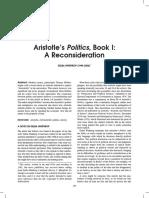 Aristotle's Politics, BookI_ a Reconsideration (Delba Winthrop)
