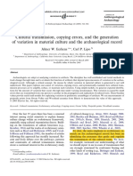 Eerkens, J. y Lipo, C. 2005. Cultural Transmission, Copying Errors, And the Generation of Variation in Material Culture and the Archaological Record.