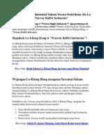 Kiat Analisa Fundamental Saham Secara Sederhana Ala Lo Kheng Hong Si