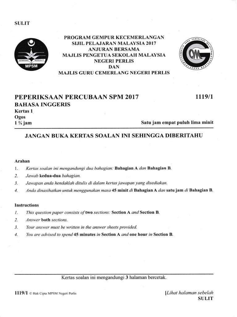 Perlis 2017 Spm Trial English 1119 P1 2