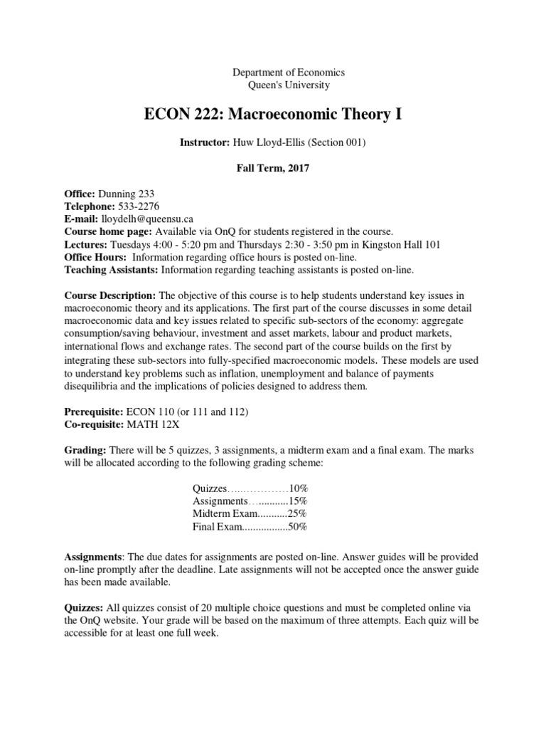 ECON222 Outline | Macroeconomics | Test (Assessment)
