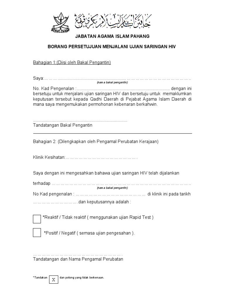 Borang Persetujuan Jalani Saringan Hiv2 Pdf