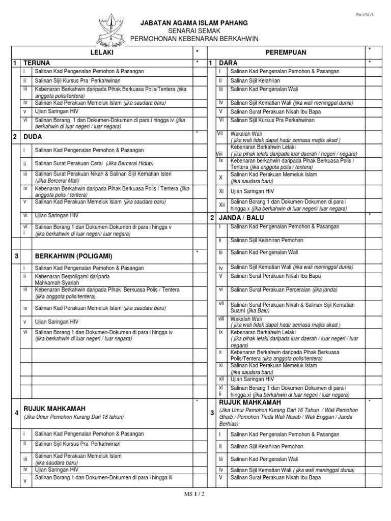 Senarai Semak Borang 1 New
