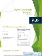 Applying Paragraph Formats