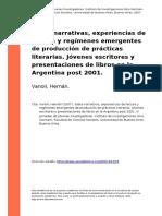 Vanoli, Hernan (2007). Sobre Narrativas, Experiencias de Lectura y Regimenes Emergentes de Produ..