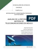 Análisis de La Reforma en Materia de Telecomunicaciones