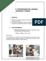 Obtención y Propiedades Del Oxígeno, Peróxido y Óxidos