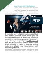 Pemilihan Game Di Agen Judi Poker Indonesia