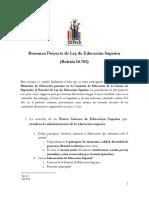 Resumen Proyecto de Ley de Educación Superior (Boletín 10.783)
