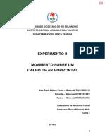 Relatório 2 - Movimento Sobre Um Trilho de Ar Horizontal