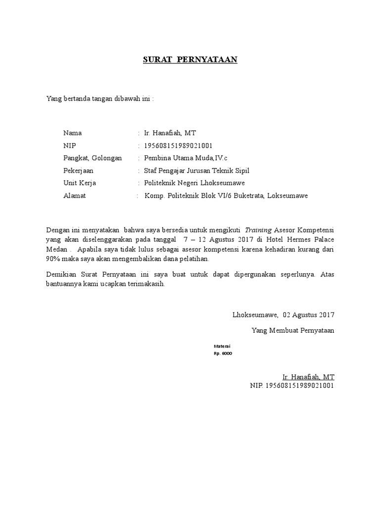 Surat Pernyataan Kesediaan Mengikuti Pelatihan