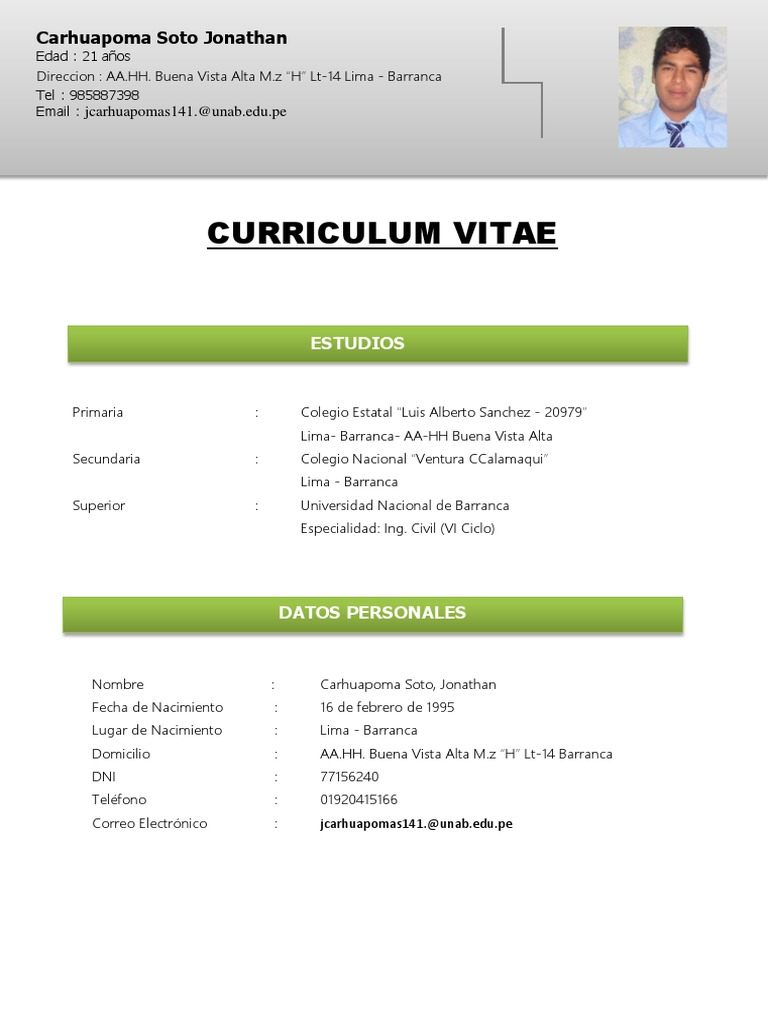 Curriculum Vitae uploaded by Jonathan Carhuapoma Soto