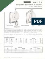 Revere 6850 Quartzoval Tungsten Halogen Floodlight 1500w Bulletin 1966