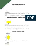 El área y perímetro de un cuadrado