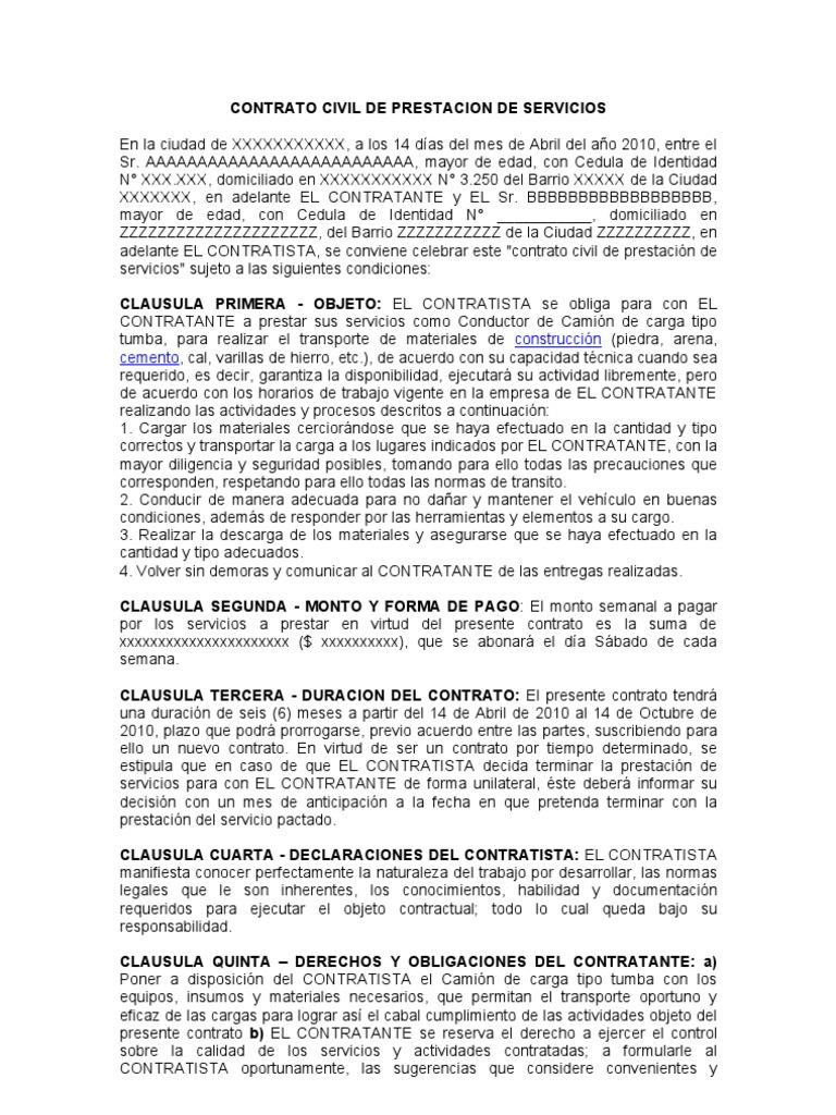 Contrato Civil De Prestacion De Servicios Chofer De Cami N