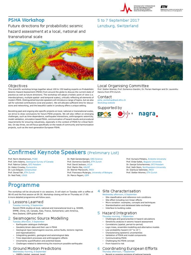 PSHA Workshop Registration | Seismology | Earthquakes