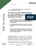 4 de Septiembre de 2017- Beatriz Domínguez-Gil Nueva Presidenta de La RCIDYT