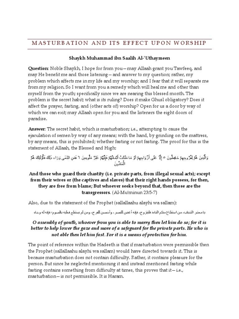 Masturbation christian fasting