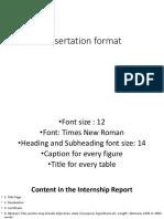 Internship Training Report Format