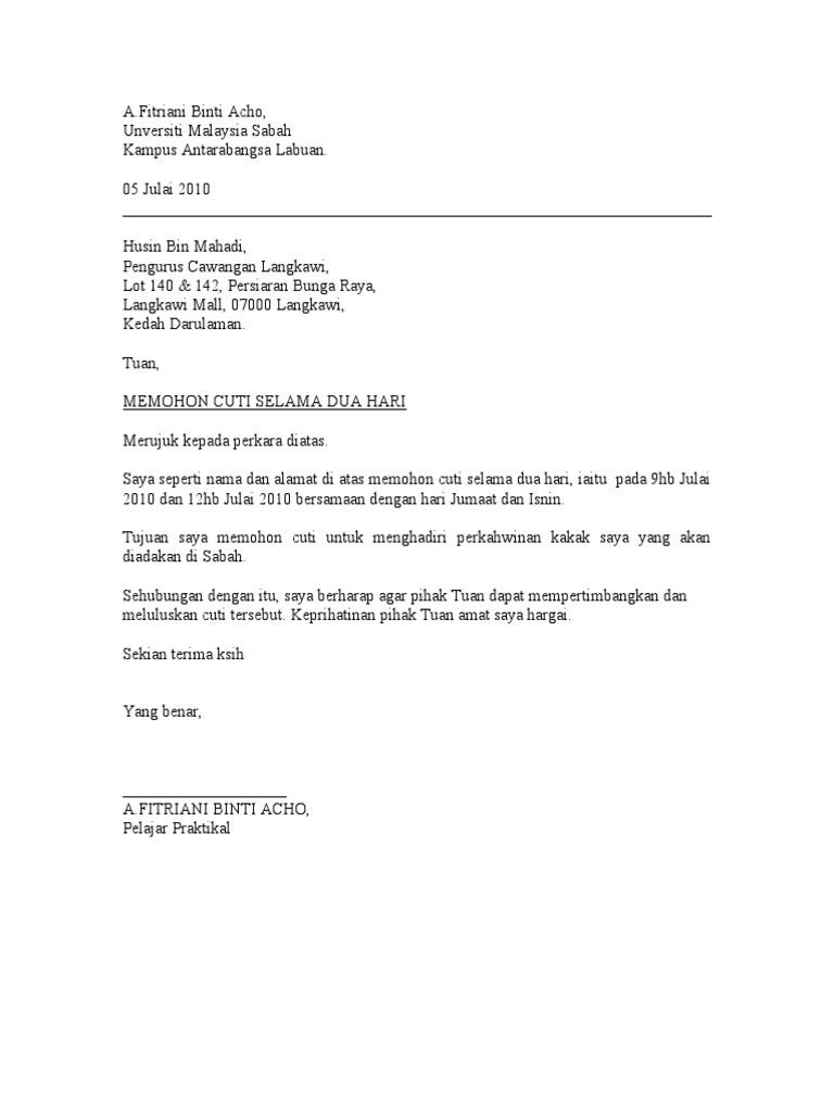 Surat Permohonan Cuti Perkahwinan Surasmi G