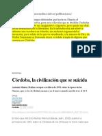 Cordoba, La Ciudad Que Se Suicida, El Pais, Artículo