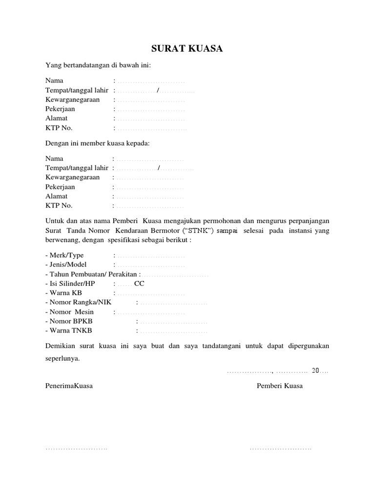 Contoh Surat Kuasa Pengurusan Motor
