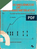Sérgio Augusto de Souza Ensaios Mecânicos de Materiais Metálicos - Fundamentos Teóricos e Práticos - (5ª Ed)