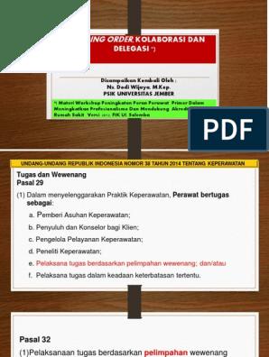 Standing Order, Kolaboarsi, Dan Delegasi | Ilmu Keperawatan | Dokter