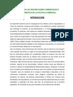 Impacto de Las Restricciones Comerciales e Instrumentos de La Política Comercial