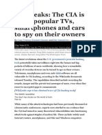 WikiLeaks- The CIA is Using Popular TVs, Smartphones and Cars to Spy on Their Owners