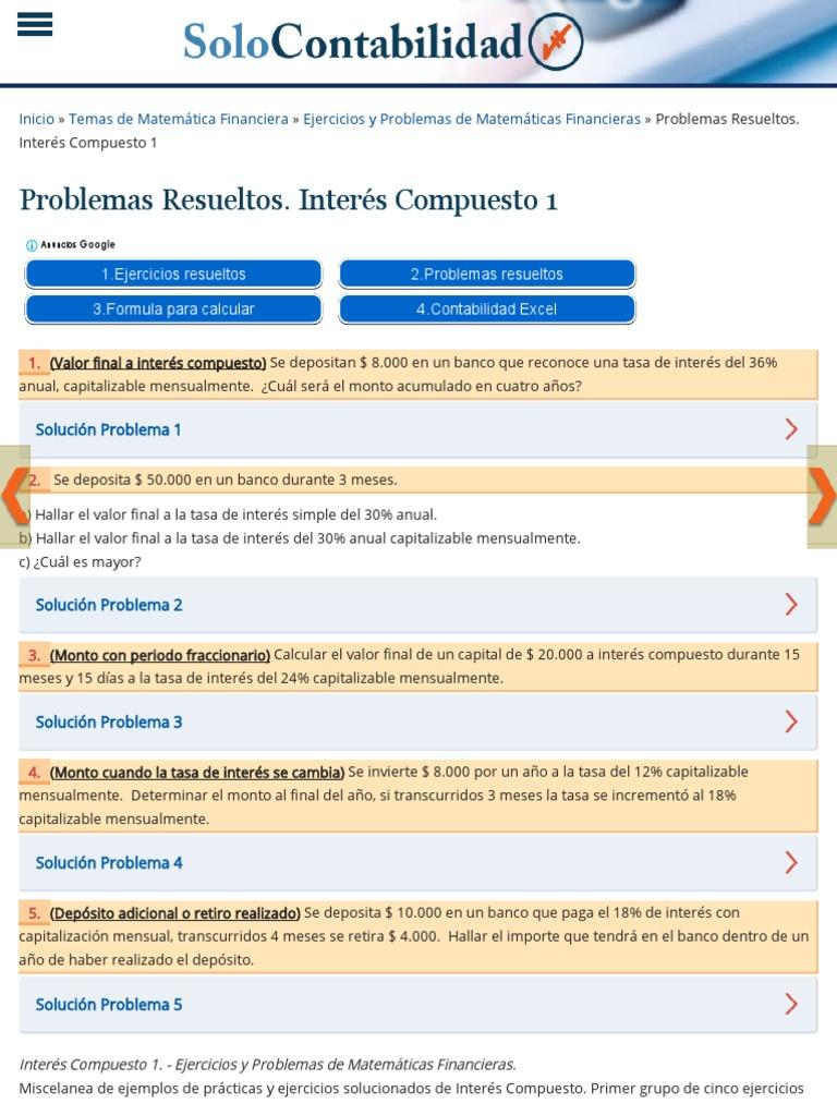 Problemas Resueltos. Interés Compuesto 1 _ Ejercicios y Problemas de ...