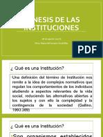 Génesis de Las Instituciones Sociales