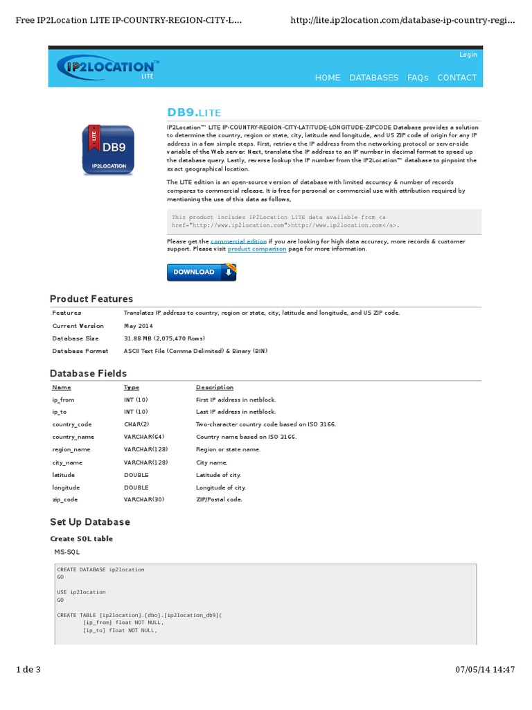 Ip2location Database Instructions   Microsoft Sql Server (59
