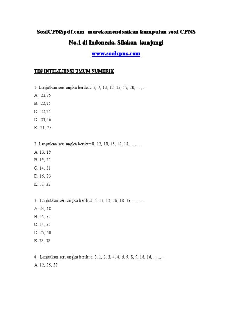 30++ Soal cpns tiu hots pdf info