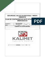 Plan de Emergencias Kalimet Baño de Damas
