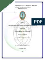 Factores que influyen en la automedicación en la población de la zona de Bagazán Iquitos - Peru 2011 - Litho Thesseo Alegria Rodriguez