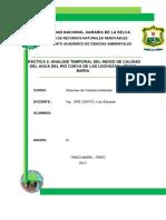 Analisis Temporal Del Indice de Calidad Del Agua Del Rio Cueva de Las Lechuzas – Tingo Maria