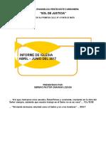 Informe 2do Trimestre 2017 Iglesia Sdj Ali Primera